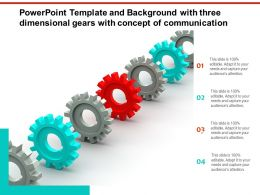 Powerpoint Template And Background With Three Dimensional Gears With Concept Of Communication