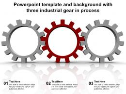 Powerpoint Template And Background With Three Industrial Gear In Process