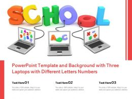 Powerpoint Template And Background With Three Laptops With Different Letters Numbers