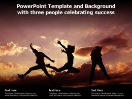 Powerpoint Template And Background With Three People Celebrating Success