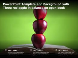 Powerpoint Template And Background With Three Red Apple In Balance On Open Book