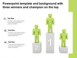 Powerpoint Template And Background With Three Winners And Champion On The Top