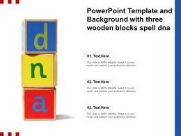 Powerpoint Template And Background With Three Wooden Blocks Spell DNA