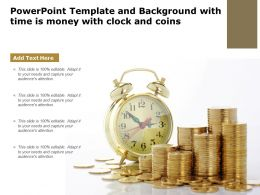 Powerpoint Template And Background With Time Is Money With Clock And Coins