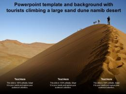Powerpoint Template And Background With Tourists Climbing A Large Sand Dune Namib Desert