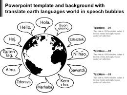 Powerpoint Template And Background With Translate Earth Languages World In Speech Bubbles