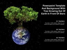 Powerpoint Template And Background With Tree Growing Out Of Earth In Front Of Stars