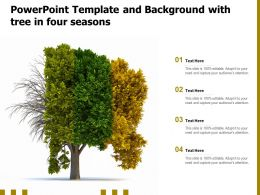 Powerpoint Template And Background With Tree In Four Seasons