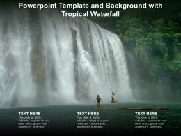 Powerpoint Template And Background With Tropical Waterfall