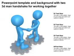 Powerpoint Template And Background With Two 3d Man Handshake For Working Together