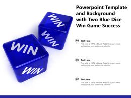 Powerpoint Template And Background With Two Blue Dice Win Game Success