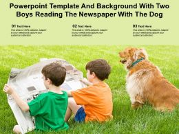Powerpoint Template And Background With Two Boys Reading The Newspaper With The Dog