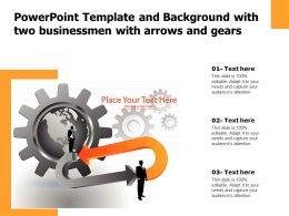 Powerpoint Template And Background With Two Businessmen With Arrows And Gears