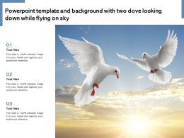 Powerpoint Template And Background With Two Dove Looking Down While Flying On Sky