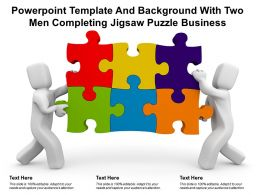 Powerpoint Template And Background With Two Men Completing Jigsaw Puzzle Business