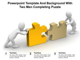 Powerpoint Template And Background With Two Men Completing Puzzle