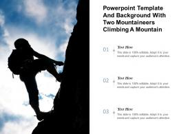 Powerpoint Template And Background With Two Mountaineers Climbing A Mountain At Dawn
