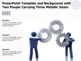 Powerpoint Template And Background With Two People Carrying Three Metallic Gears