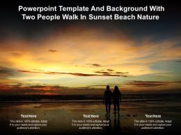 Powerpoint Template And Background With Two People Walk In Sunset Beach Nature