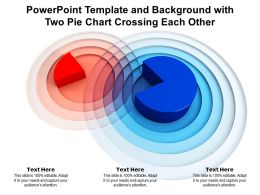 Powerpoint Template And Background With Two Pie Chart Crossing Each Other
