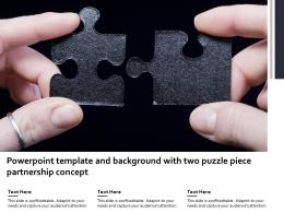 Powerpoint Template And Background With Two Puzzle Piece Partnership Concept