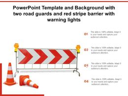 Powerpoint Template And Background With Two Road Guards And Red Stripe Barrier With Warning Lights