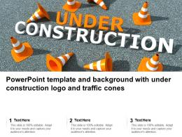 Powerpoint Template And Background With Under Construction Logo And Traffic Cones