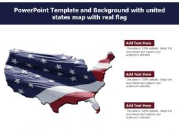 Powerpoint Template And Background With United States Map With Real Flag