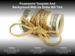 Powerpoint Template And Background With Us Dollar Bill Tied