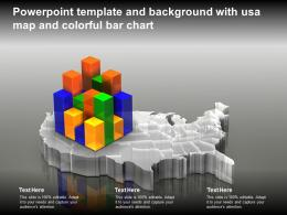 Powerpoint Template And Background With USA Map And Colorful Bar Chart