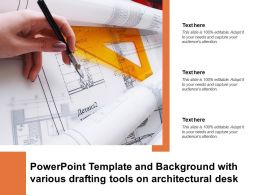 Powerpoint Template And Background With Various Drafting Tools On Architectural Desk