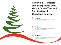Powerpoint Template And Background With Vector Green Tree And Red Abstract In Christmas Festival