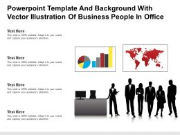 Powerpoint Template And Background With Vector Illustration Of Business People In Office