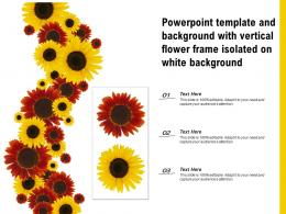 Powerpoint Template And Background With Vertical Flower Frame Isolated On White Background