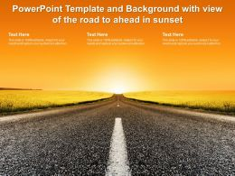 Powerpoint Template And Background With View Of The Road To Ahead In Sunset