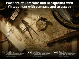 Powerpoint Template And Background With Vintage Map With Compass And Telescope
