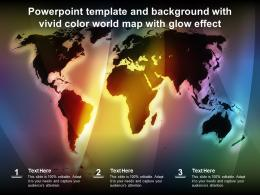 Powerpoint Template And Background With Vivid Color World Map With Glow Effect