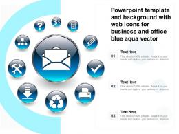 Powerpoint Template And Background With Web Icons For Business And Office Blue Aqua Vector