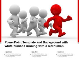 Powerpoint Template And Background With White Humans Running With A Red Human