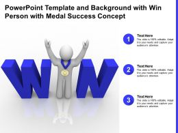 Powerpoint Template And Background With Win Person With Medal Success Concept