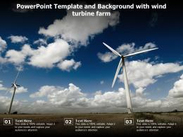 Powerpoint Template And Background With Wind Turbine Farm