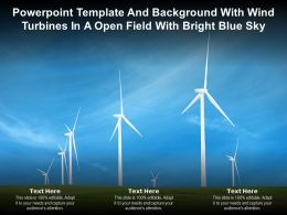 Powerpoint Template And Background With Wind Turbines In A Open Field With Bright Blue Sky