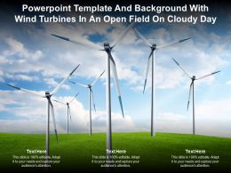 Powerpoint Template And Background With Wind Turbines In An Open Field On Cloudy Day