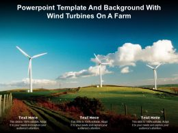Powerpoint Template And Background With Wind Turbines On A Farm