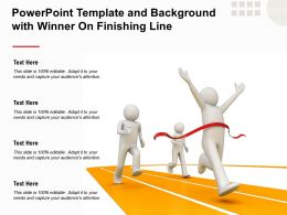 Powerpoint Template And Background With Winner On Finishing Line