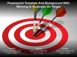 Powerpoint Template And Background With Winning In Business On Target