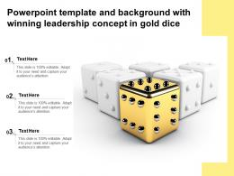Powerpoint Template And Background With Winning Leadership Concept In Gold Dice
