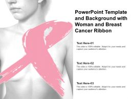 Powerpoint Template And Background With Woman And Breast Cancer Ribbon