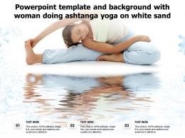 Powerpoint Template And Background With Woman Doing Ashtanga Yoga On White Sand
