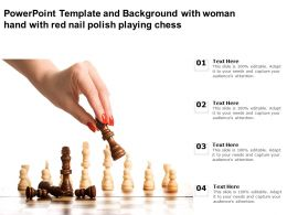 Powerpoint Template And Background With Woman Hand With Red Nail Polish Playing Chess
